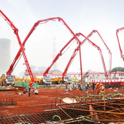 三一泵车参与上海闵浦大桥建设